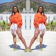Drawstring Long Puff Sleeve Orange Plus Size Shirt Top Turn Down Collar Crop Top for Woman Fashion Clothing Women Oversized