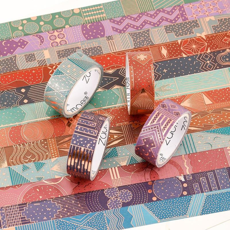 Vientiane Skylight Series Washi Tape Gilding Decorative Adhesive Tape Diy Scrapbooking Sticker Label Craft Masking Tape