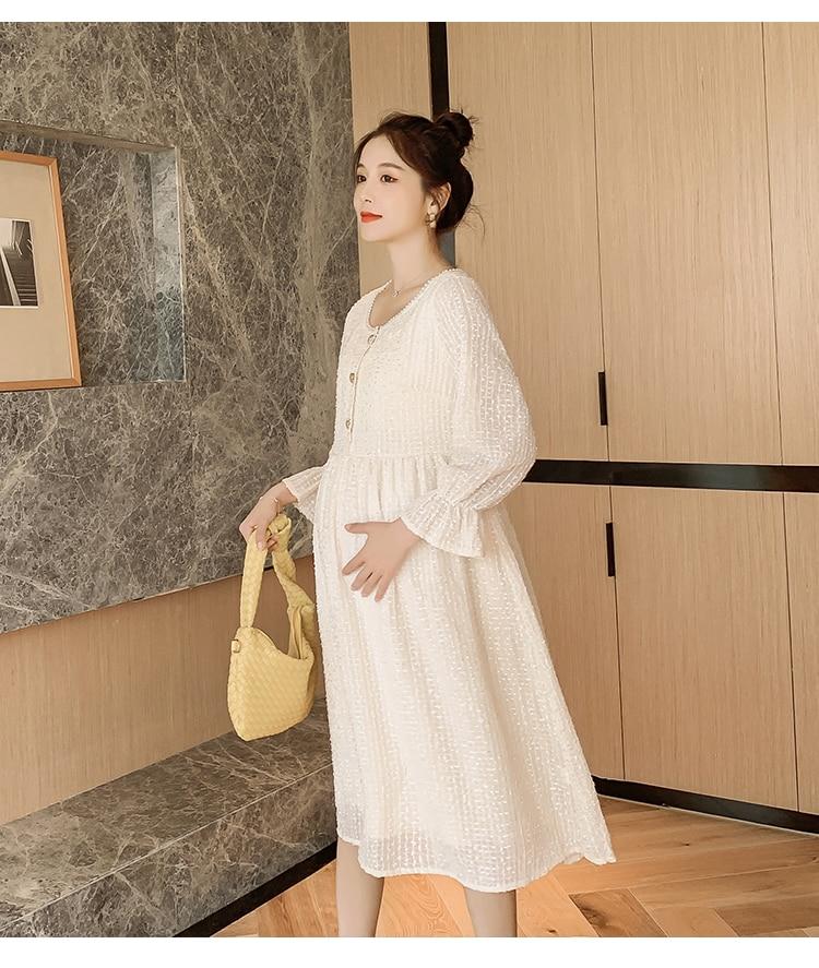 8201# Autumn Spring Korean Fashion Maternity Long Party Dress Elegant Slim Nursing Clothes for Pregnant Women Sweet Pregnancy
