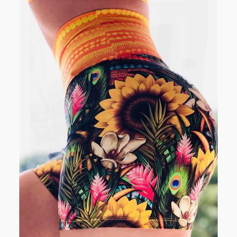 กางเกงขาสั้น Legging สั้นกางเกงขาสั้นโยคะสตรีสูงเอวออกกำลังกายผู้หญิง BIKER กางเกงขาสั้น Licras Deportivas Mujer Activewear