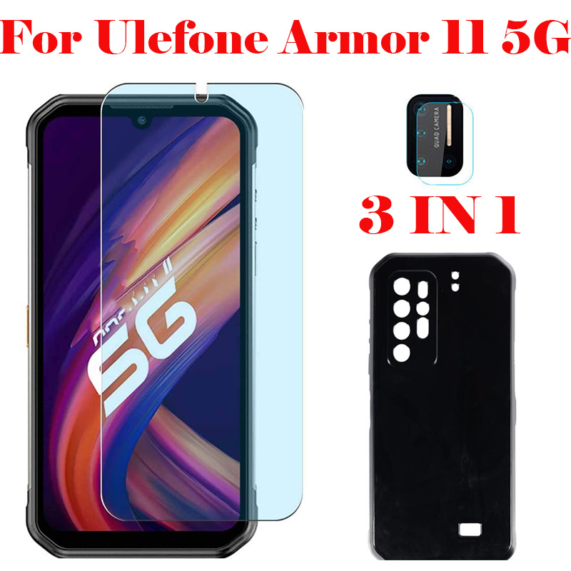 3-в-1 чехол + Камера закаленное Стекло на холсте для Ulefone Power 10 11 5G экрана мобильного телефона Стекло для Ulefone Power 10 5G 2.5D Стекло