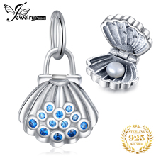 JewelryPalace 925 Sterling Silver Sea Animal Openable Shell Oyster Clam Blue Cubic Zirconia Charm Beads Fit Bracelets For Women