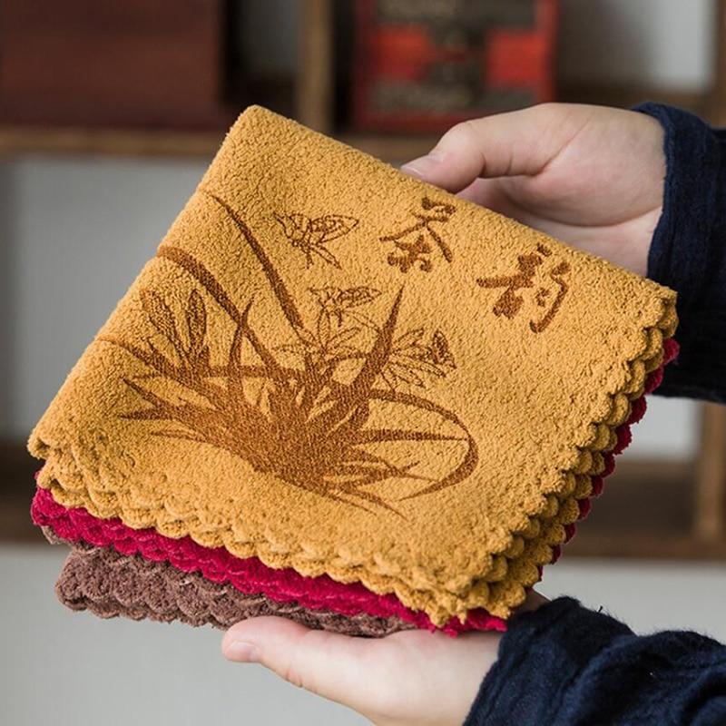 Домашнее горячее из микрофибры, с принтом Впитывающее чайное полотенце на заказ утолщенное Впитывающее чайное полотенце кунг-фу аксессуары для чая