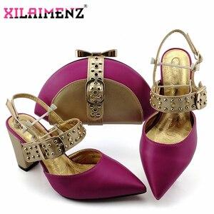 Image 2 - Kraliyet Mavi Yeni Tasarım İtalyan Zarif Ayakkabı Ve Çanta Seti İtalyan Rahat Topuklu parti ayakkabıları Ve çanta seti Düğün Için