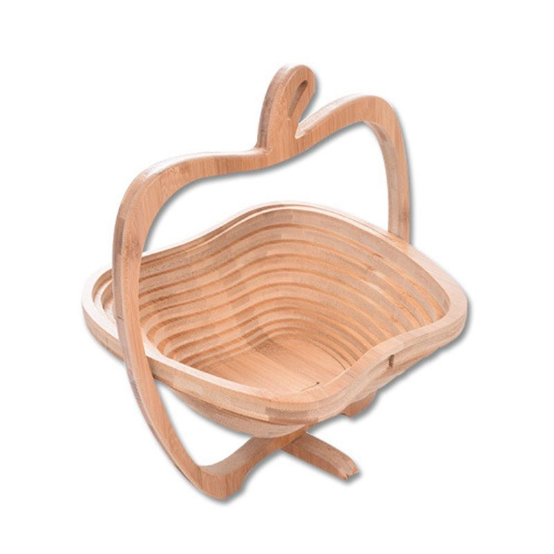 Apple-shaped Fruit Storage Basket Bamboo Frame Foldable Storage Basket-shaped Expandable Foldable