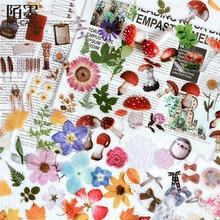 8 Designs Plant Flower Mushroom Ginkgo Pet Deco Diary Stickers Scrapbooking Planner Decorative Stationery Stickers Transparent