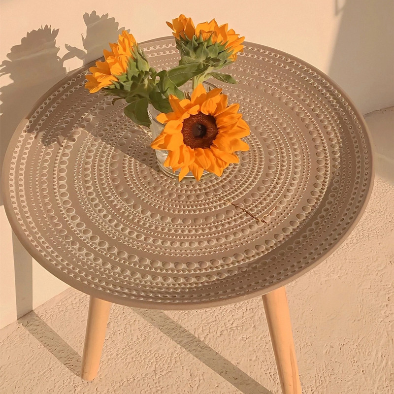Cutelife Creative Round Nordic Wood Coffee Table Storage Tea Fruit Service Plate Tray Bed Home Table Living Room Table Sofa Side