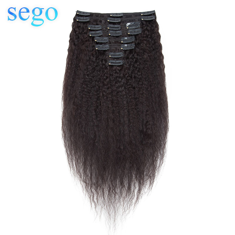 SEGO Hair Clips In Brazilian 100% Real Human Hair Afro Kinky Curly Kinky Straight Clip In Hair Extensions 8 Pcs/set Remy Hair