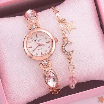 Lvpai бренд 2 шт набор часов женские Стразы браслет часы для женщин платье женские наручные часы Роскошные Кварцевые часы