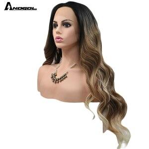 Image 3 - Anogol siyah Ombre kahverengi sentetik dantel ön peruk sarışın ipuçları uzun vücut dalga isıya dayanıklı peruk kadınlar için