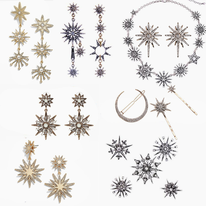 JOOLIM Jewelry Wholesale/2017 Beautiful Shinning Starburst Snowflake Necklace Charm Bracelet Jewelry Set Women Jewelry Bijoux