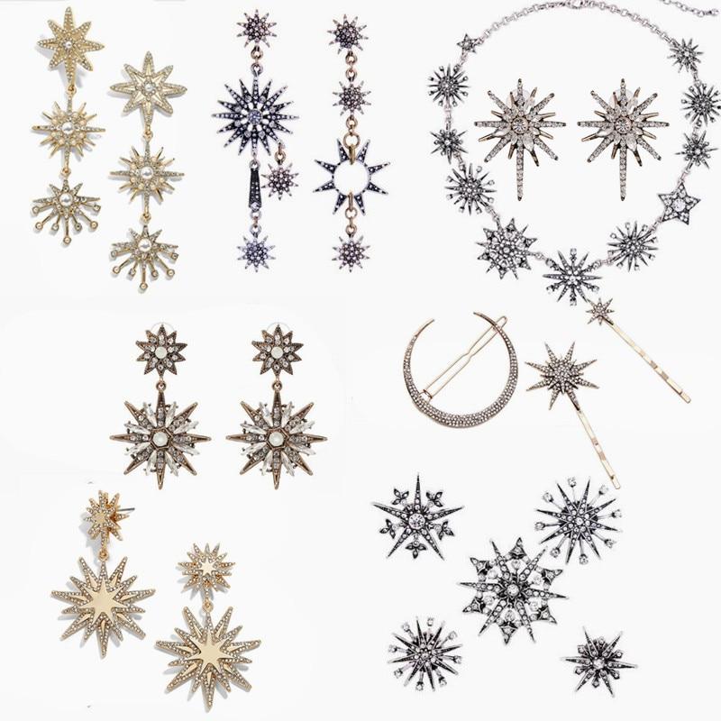 JOOLIM Jewelry Wholesale/2017 Beautiful Shinning Starburst Snowflake Necklace Charm Bracelet Jewelry Set Women Jewelry Bijoux