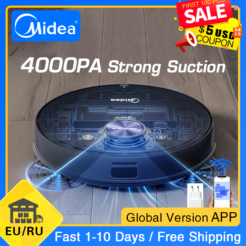 Midea M7 Robot Vacuum Cleaner for Home 4000Pa Suction Cleaning Automatically Charge Mop Dust Collector Smart Planned Aspirator