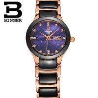 BINGER New Rose Gold Watch Women Quartz Watches Ladies Top Brand Luxury Female Wrist Watch Girl Clock Wife gift Zegarek Damski