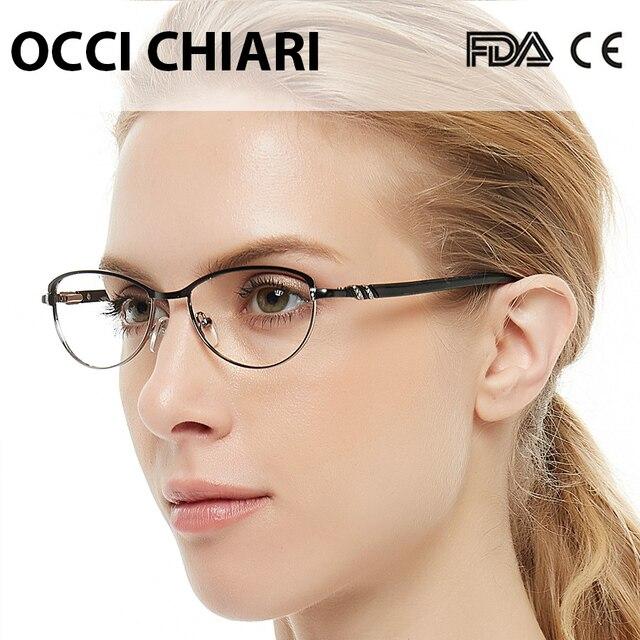 OCCI CHIARI Vintage Metal Computer Anti blue Ray Glasses Women Clear Eyeglasses Frame Cat Eye Diamond Eyewear Mother Gift COMIN