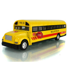 1:32 Scale Alloy Pull Back Car Model School Bus Model Toy 2 Open Doors with Sound Light for Kids Toy(China)
