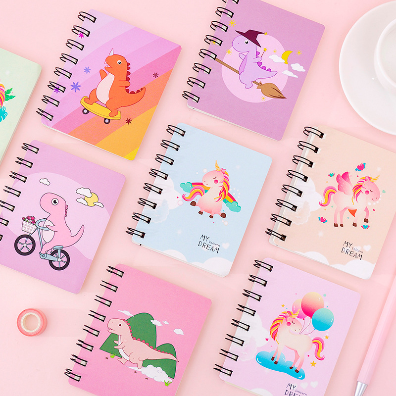 Cute Coil Dinosaur Unicorn Notebook Portable Loose Leaf Blank Word Book Card Tearable Notepads Stationery Gift School Supplies