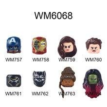 Wm757 wm758 wm759 wm760 wm761 wm762 wm763 wm764 wm6068 figuras cabeças série de filmes tijolos blocos de construção brinquedo educacional para criança