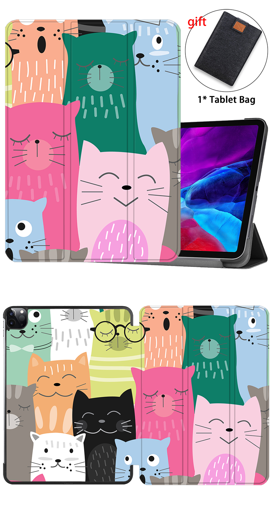 iPad Flip For Cover Leather PU MTT 12.9 Cover Case 2020 4th Smart Gen Stand Pro inch