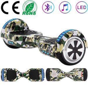 Scooter de auto-Equilibrio de 6,5 pulgadas de camuflaje verde 2 ruedas tabla de equilibrio eléctrica Hoverboard para niños regalos LED Bluetooth + bolsa