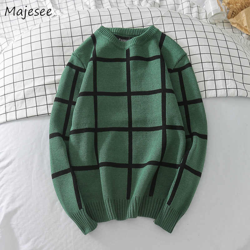 Pullover Männer Winter Dicker Strick Plaid Retro Oansatz Weiche Warme Koreanische Stil Allgleiches Pullover Herren Plaid Retro Chic Pullover