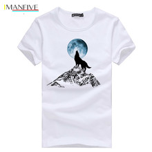 Pioneer Camp Fashion print wolf pattern casual men t-shirt young boy funny t shirts 100% cotton clothing