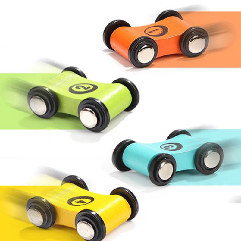 2pcs/set Wooden Children's Slide Car Trolley Track Slide Car Inertia Pull Back Glider Toy Mini Car