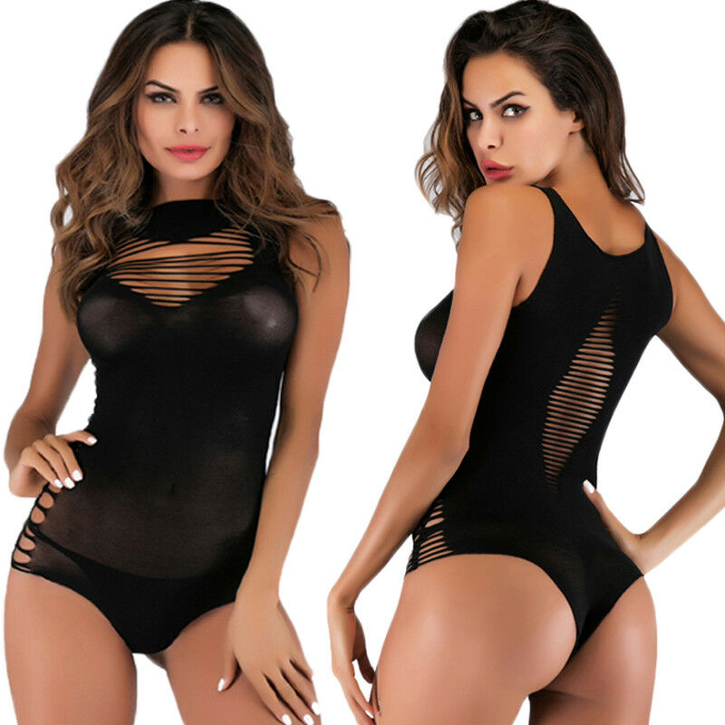 Women Sexy Solid Black Bodysuit Lingerie Nightwear Ladies 2020 New Stretch Holow Out Bodysuit Underwear Sexy Babydoll Sleepwear