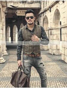 Image 5 - Новинка, серебристый клетчатый костюм, жилет для мужчин, шерстяной твидовый Повседневный облегающий жилет, брикет для мужчин, для свадьбы
