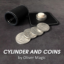 Cylinder and Coins Magic Tricks Walking Liberty Half Dollar Magia Magician Close Up Illusions Gimmick Props Mentalism Fun Easy