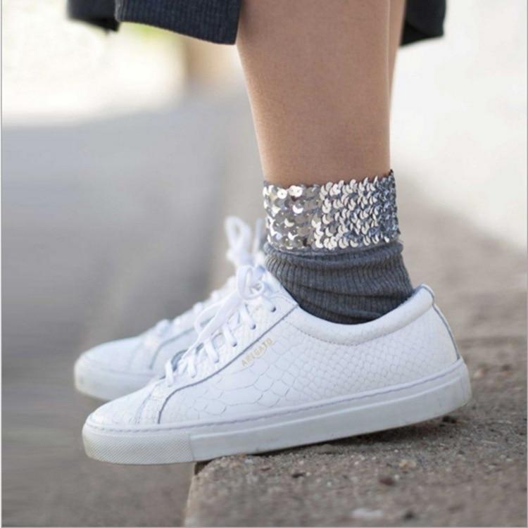 PPXX New Kids Socks Warm Children Sequins Glitter Baby Girl Socks Patchwork Dancing Performence Girls Cotton Soft Footwear