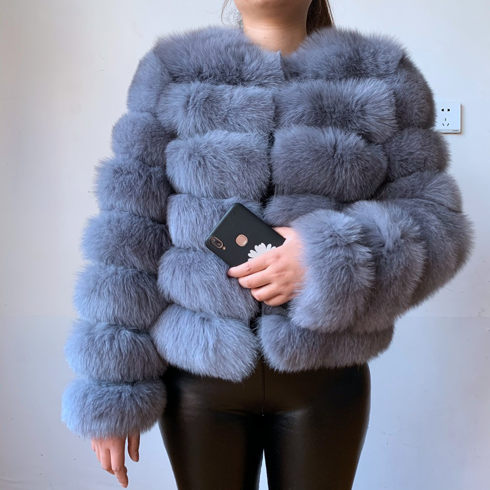 Real fur real fur fox coat outfit long sleeves quality silver fox women winter warm thick natural fox fur coats