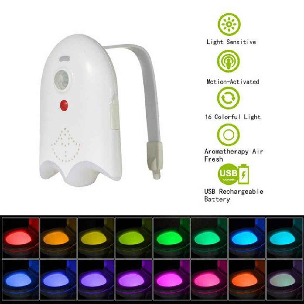 USB akumulator deska klozetowa oświetlenie z podświetleniem aromaterapii dla muszla klozetowa czujnik ruchu WC światło 16 kolorów lampka nocna