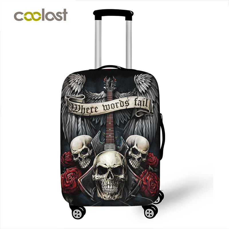 Punk Rock Guitar Rose Skull Suitcase Cover Travel Accessories Elastic Protective Luggage Covers Anti-dust Case Cover 18-32 Inch