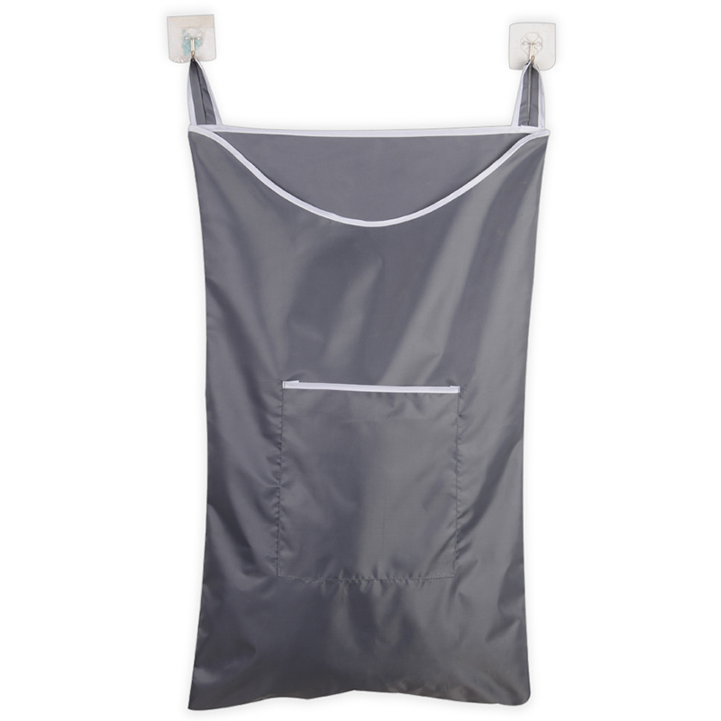 Space Saving Hanging Laundry Hamper Bag With Free Door Hooks(Grey)