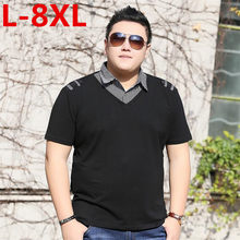 Neue plus größe 8XL 7XL 6XL Neue Baumwolle Polo-Shirt Mode Druck Hülse Camisa Polo Hohe Qualität Männer Polo Schlank fit Sommer Tops Tees(China)