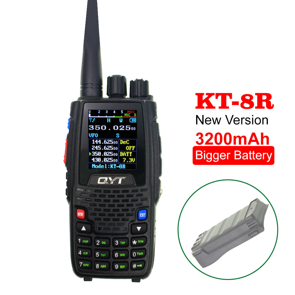 QYT Walkie Talkie KT-8R 3200mAh Quad Band 136-147Mhz 400-470mhz 220-270mh 350-390mhz Handheld Two Way Radio Ham Transceiver KT8R