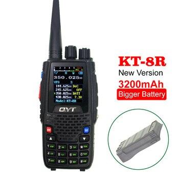 Qyt walkie talkie KT-8R 3200 mah quad band 136-147 mhz 400-470mhz 220-270mh 350-390mhz handheld transceptor de presunto de rádio em dois sentidos kt8r