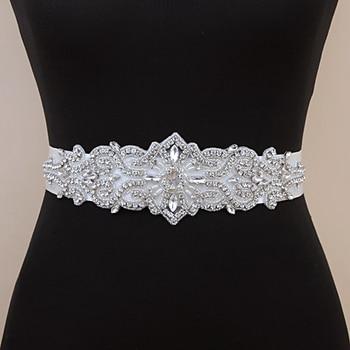 TRiXY S26 Silver Diamond Wedding Belt Rhinestone Belt Beaded Bridal Belt Crystal Wedding Sash Belt Shiny Belt Ivory Wedding Sash yung mom s26