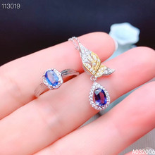 цена KJJEAXCMY Fine Jewelry 925 Sterling Silver Inlaid Natural Sapphire classic Ring Necklace Pendant Set Support test онлайн в 2017 году