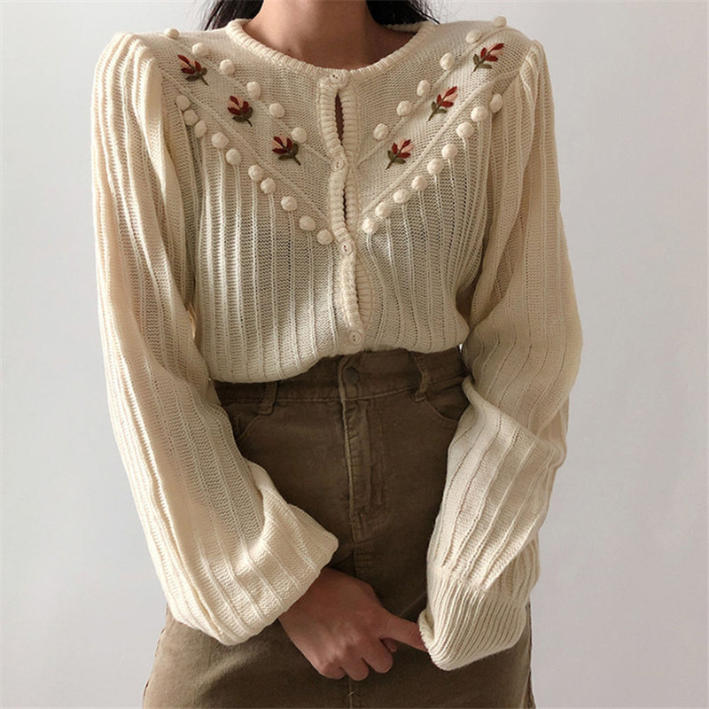 Alien Kitty Beige Sweet Gentle Hook Floral Lantern-Sleeved Girls Knitted Korea Cute Chic Free Simple Fresh Cardigans Sweaters