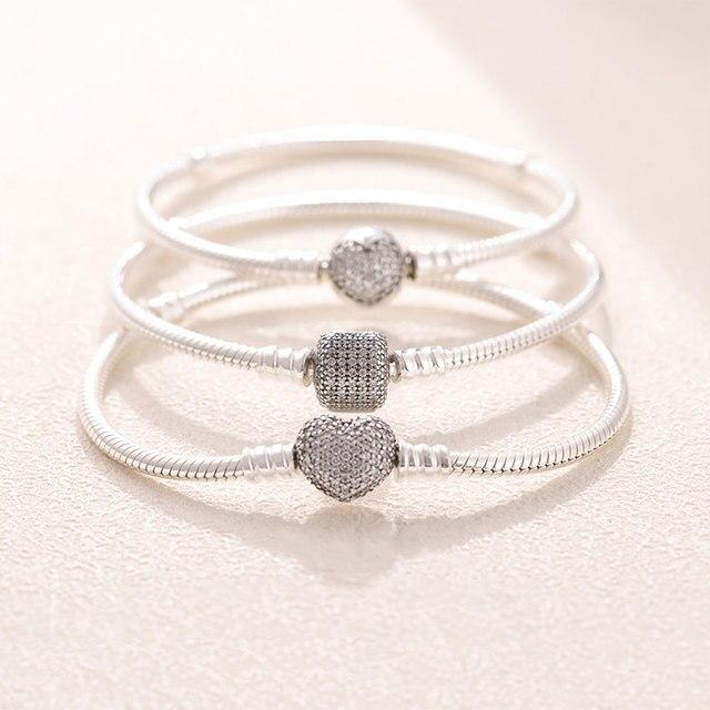 TOP SALE Pulseira Bracelet Femme 925 Sterling Silver Heart Snake Chain Bracelet For Women Fit Original Charm Beads Jewelry Gift 4