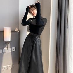 Cor sólida de malha de fundo superior saia de cintura alta duas peças conjunto de roupas femininas