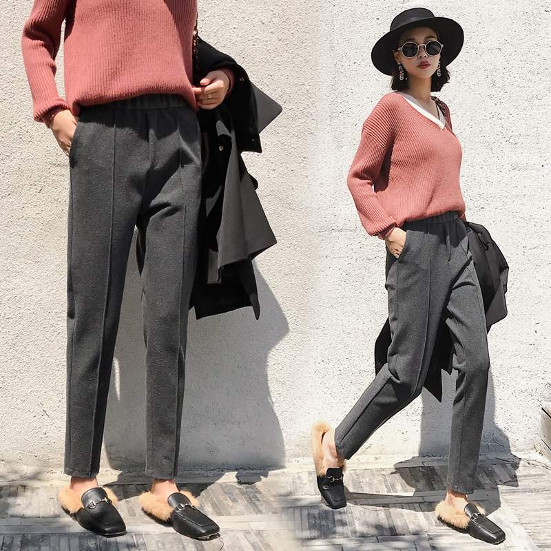 Autumn Winter Woolen Pants Large Size Loose Tapered Casual Suit Pipe Harem Pants Female Feet Long Pants