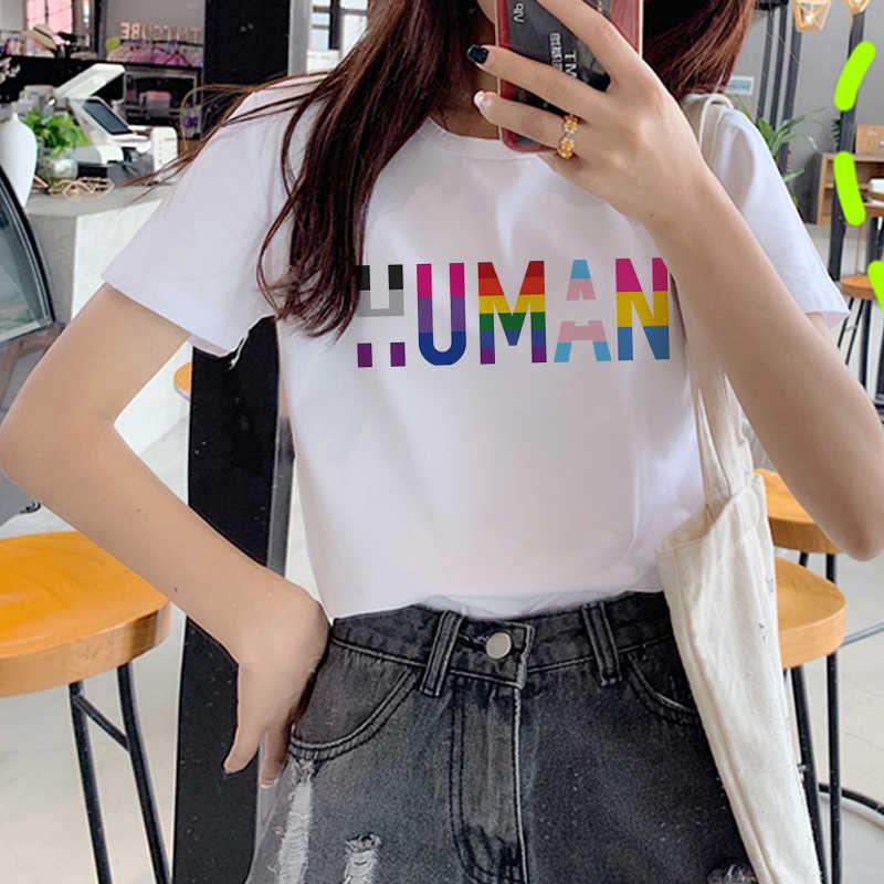 레즈비언 Lgbt 미적 Ullzang 티셔츠 여성 90s 게이 프라이드 그래픽 티셔츠 레인보우 만화 프린트 Tshirt 패션 톱 티즈 여성