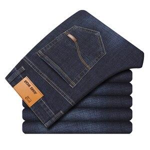 Image 1 - 2019 jesień wiosna w połowie wagi mężczyźni Casual Biker dżinsy Stretch spodnie dżinsowe solidne dopasowane jeansy rurki męskie spodnie uliczne typu Skinny
