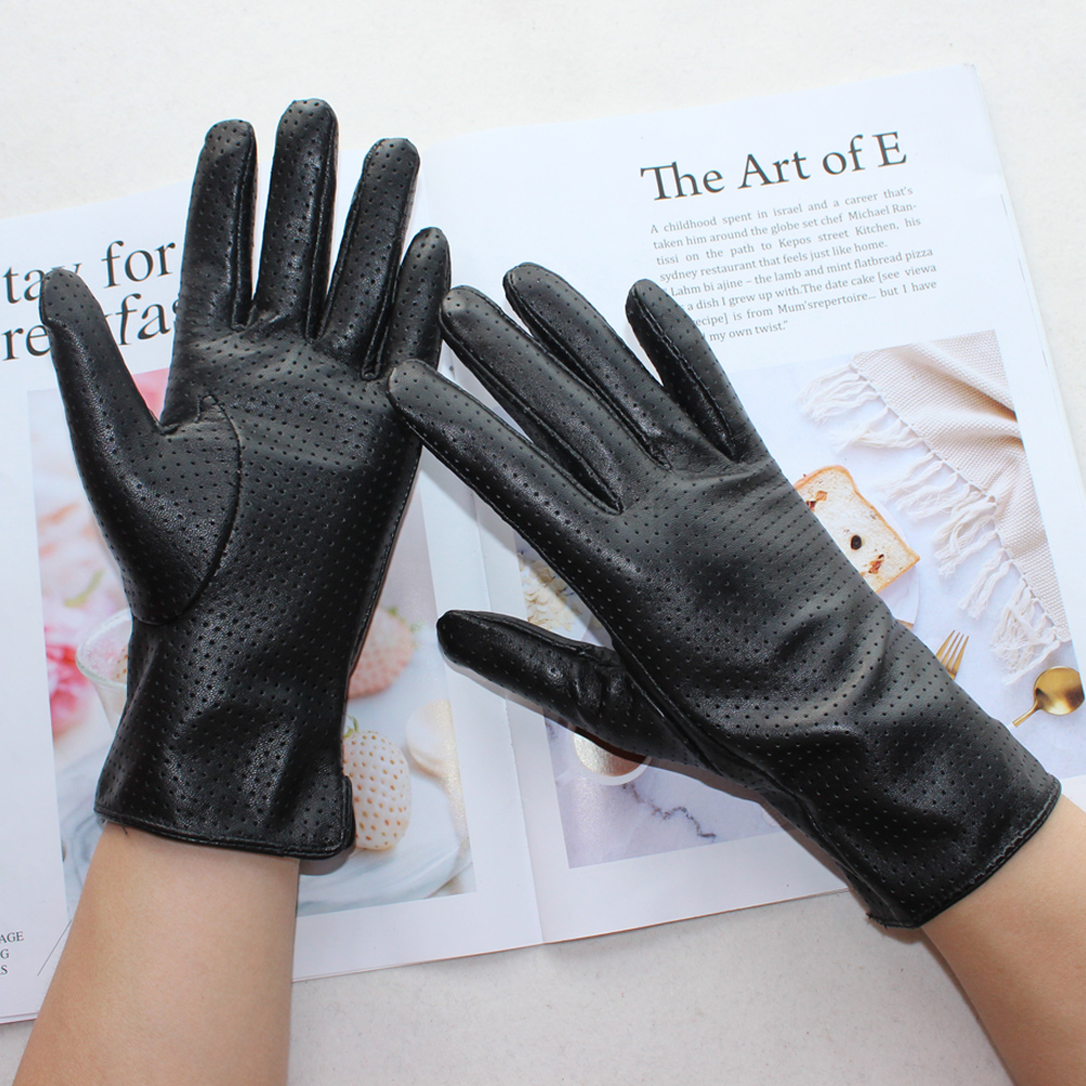 New Women's Fashionable Sheepskin Gloves Color Mesh Breathable Fashion Short Genuine Leather Gloves