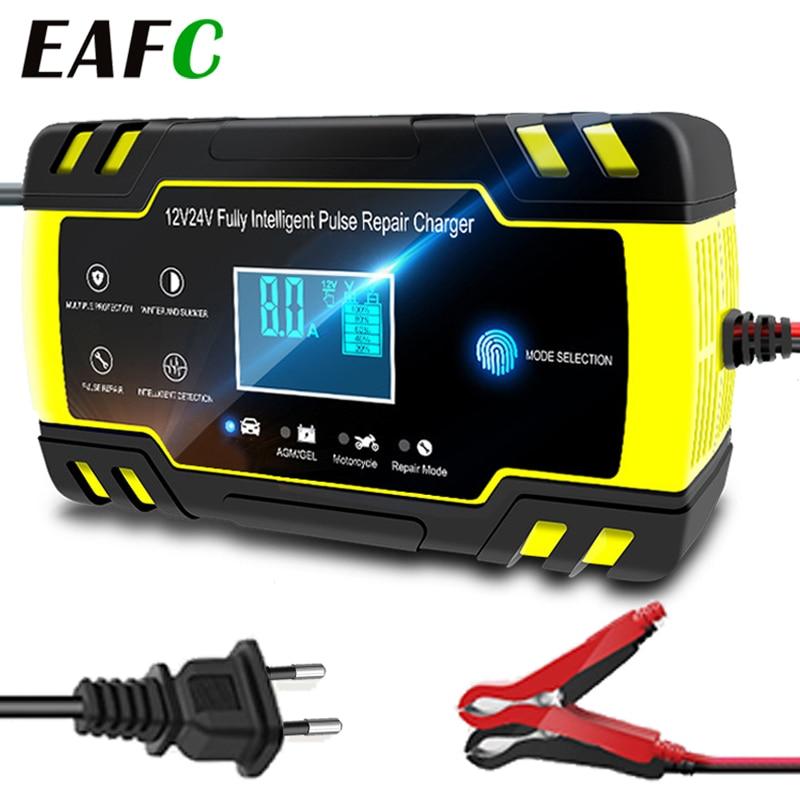 Полностью автоматические зарядные устройства для аккумуляторов 12 В-24 в 8 А, автомобильные зарядные устройства с цифровым ЖК-дисплеем для ак...