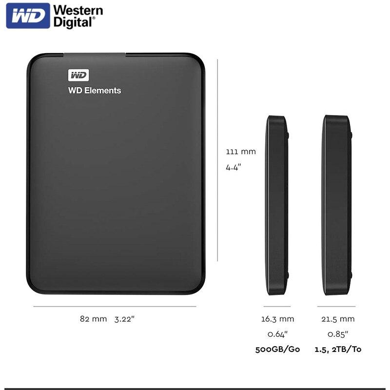 WD элементы 500 Гб Портативный внешний жесткий диск USB3.0 HD 1 ТБ 2 ТБ 4 ТБ Ёмкость жёсткого диска SATA запоминающее устройство для компьютера ПК PS4