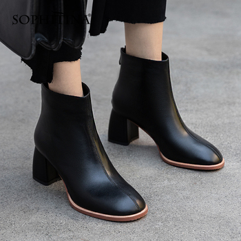 Fashion Women's Shoes Zipper Genuine Leather Square Toe Shoes High heel Handmade Elegant Job Office Female Boots SO763 Apparels Shoes